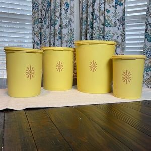 Vintage Tupperware Caniser Set Harvest Gold 1970's